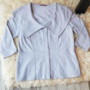 Barbara Lesser 3/4 Sleeve Oversized Collar Jacket